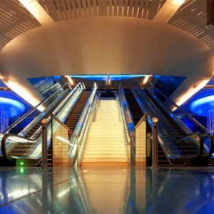 The striking Khalid Bin Al Waleed metro station in Dubai