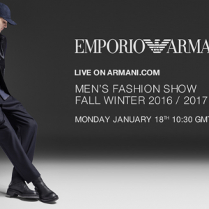 Live streaming: Emporio Armani FW16 Men's Fashion Show