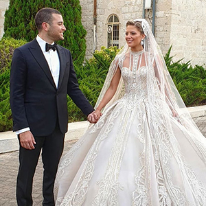 Elie Saab Jr. married Christina Mourad this weekend and her dress was absolutely stunning