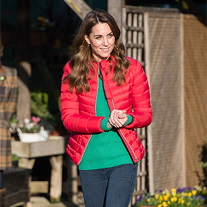 Everybody's wearing a red puffer, including Kate Middleton