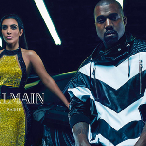 Kim Kardashian and Kanye West pose for Balmain's new SS15 campaign