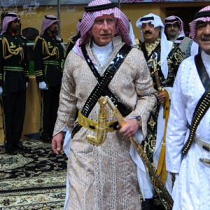 Prince Charles dances the Ardah in Saudi Arabia