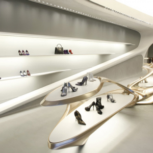 Zaha Hadid's Hong Kong boutique for Stuart Weitzman