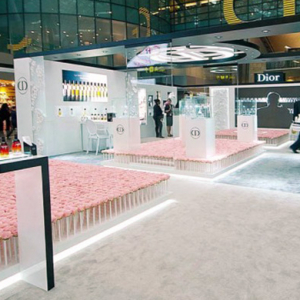 Dior plants a pink garden at Doha airport to celebrate its perfume platform