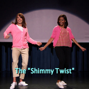 First Lady Michelle Obama dances with Jimmy Fallon