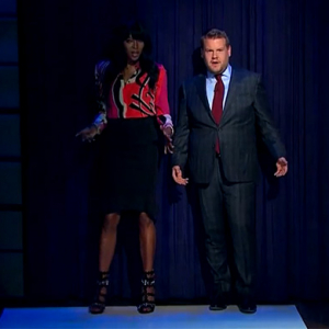 Naomi Campbell gives James Corden a runway walk class