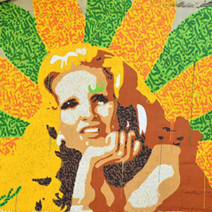 A street art tribute to Lebanese pop icon Sabah appears in Beirut
