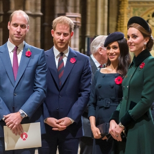 The Duke and Duchess of Cambridge are joined by the Duke and Duchess of Sussex for remembrance service