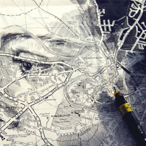 Ed Fairburn creates unique portraits on maps