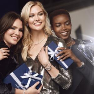 Candice Huffine, Maria Borges and Karlie Kloss shine in Swarovski's holiday campaign