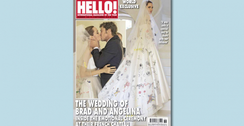 Angelina Jolie's wedding dress features her children's drawings