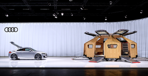 The 'TT Pavilion' created from Audi parts goes on show in Miami