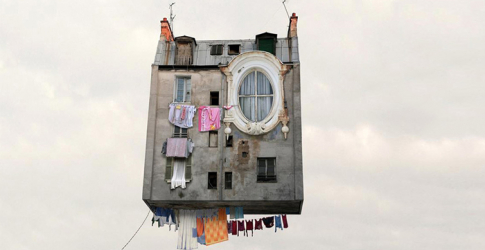 Laurent Chéhère debuts a quirky new exhibition of 'Flying Houses'