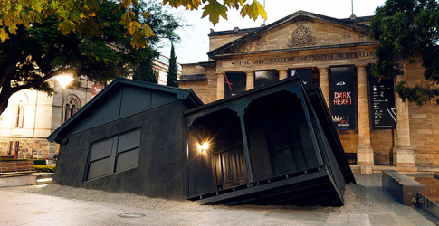 Ian Strange lands his installation in front of The Art Gallery of South Australia