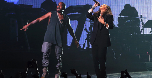 Kanye West and Rihanna's surprise performance at Roc Nation's Super Bowl party