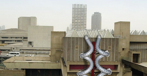 Giant slides are installed on London's Hayward Gallery