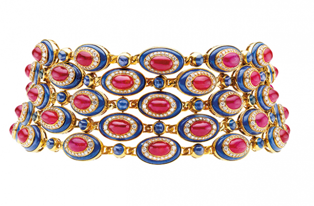 Bulgari 1979 choker with oval medallions of concentric cabochon rubies