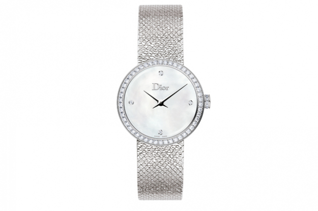 La D Dior Satine with steel diamonds and white mother-of-pearl