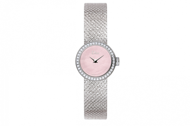 La Mini D Dior Satine with steel diamonds and pink mother-of-pearl