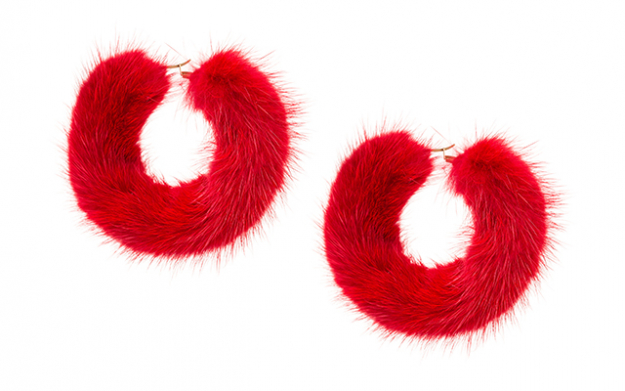 Mink hoops in red