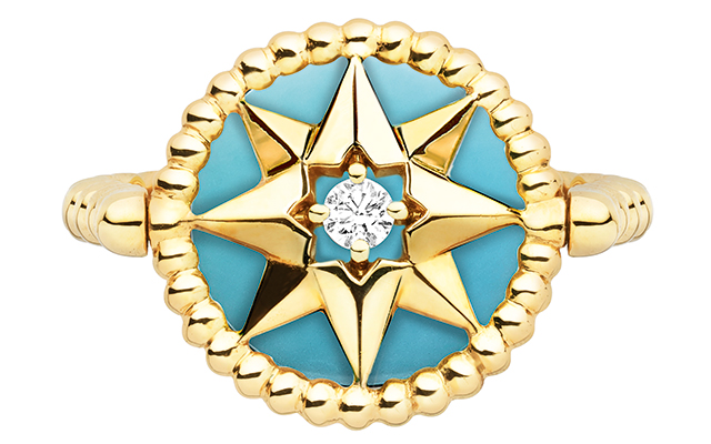 Rose Des Vents ring – yellow gold diamond, turquoise and mother of pearl