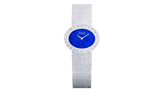 Middle East exclusive traditional oval-shaped watch in natural lapis and white gold