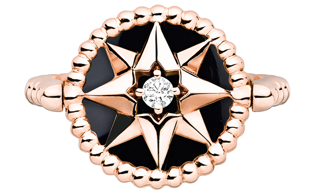 Rose Des Vents ring – pink gold, diamonds and onyx