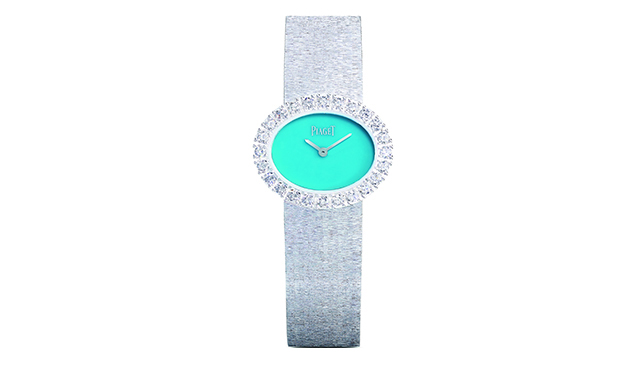 2017 traditional oval-shaped watch novelty in natural turquoise and white gold