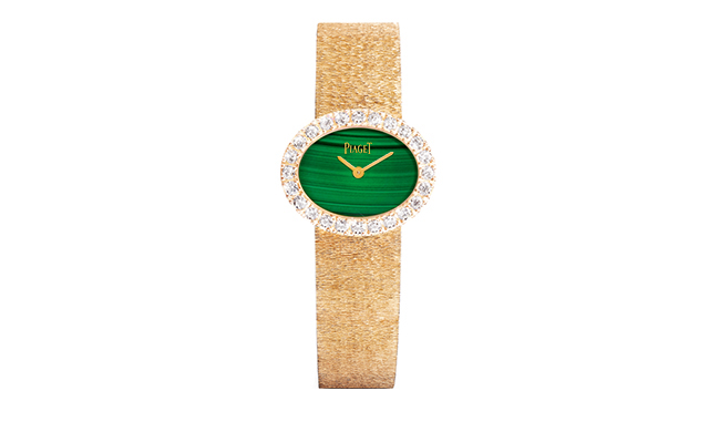Middle East exclusive traditional oval-shaped watch in natural malachite and pink gold