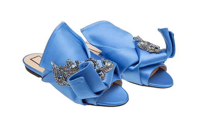 Ronny Flat Mules with jewels in Cerulean