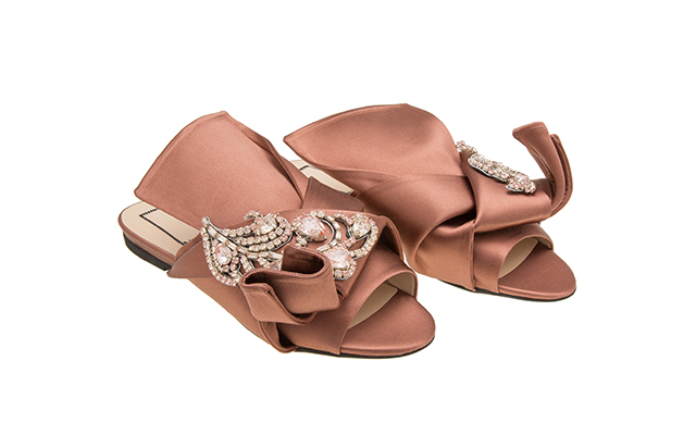 Ronny Flat Mules with jewels in Terracotta