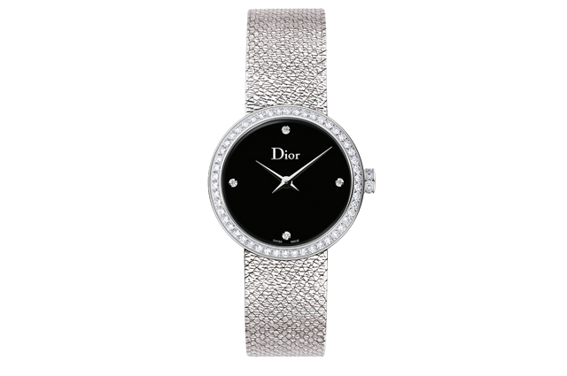 La D Dior Satine with steel diamonds and black mother-of-pearl