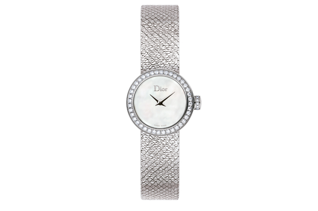 La Mini D Dior Satine with steel diamonds and white mother-of-pearl