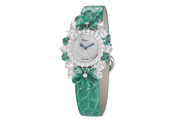 For You watch with emeralds and diamonds
