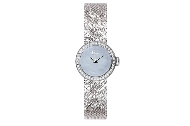 La Mini D Dior Satine with steel diamonds and grey mother-of-pearl