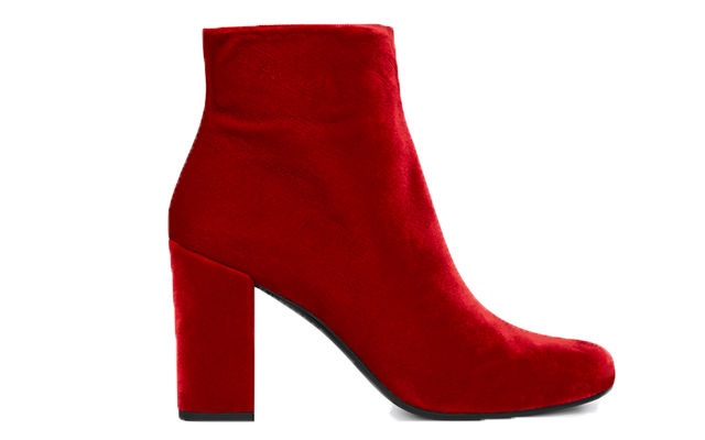 Saint Laurent Babies 90 Ankle Boot in Red Velour, Dhs2,535