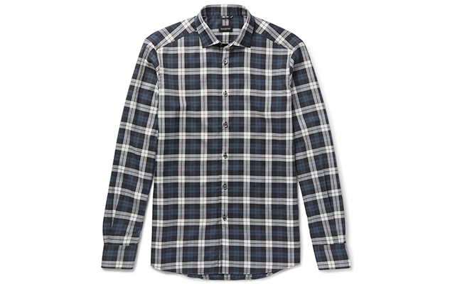 Slim-fit checked cotton shirt, Dhs930