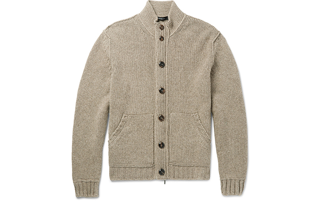 Suede trimmed cardigan, Dhs4,800