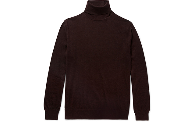 Slim-fit cashmere and silk rollneck sweater, Dhs2,370