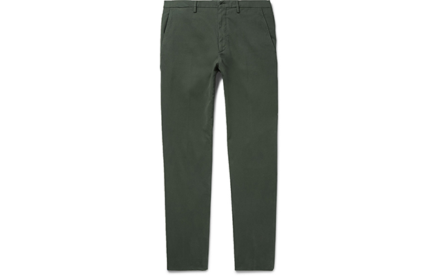Slim-fit garment-washed stretch cotton trousers, Dhs1,225