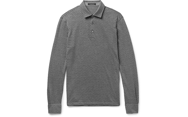 Slim-fit herringbone, cotton and wool polo shirt, Dhs1,025