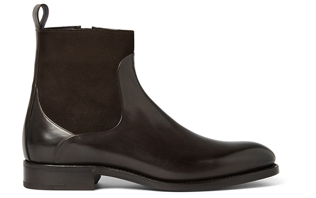 Belgravia suede panelled leather boots, Dhs3,195