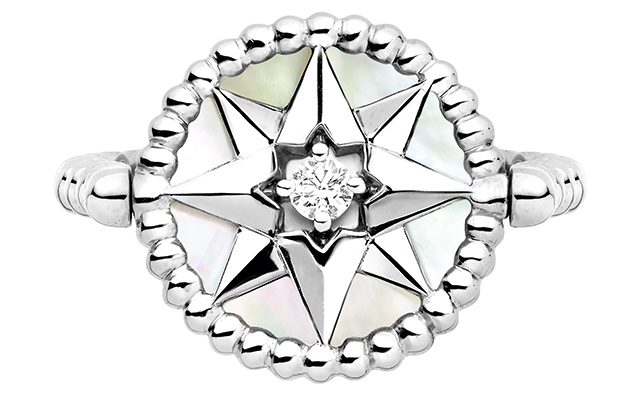 Rose Des Vents ring – white gold diamond and mother of pearl