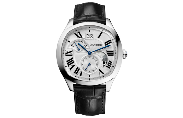 Drive de Cartier watch, steel case with large date, retrograde second time zone and day/night indicator