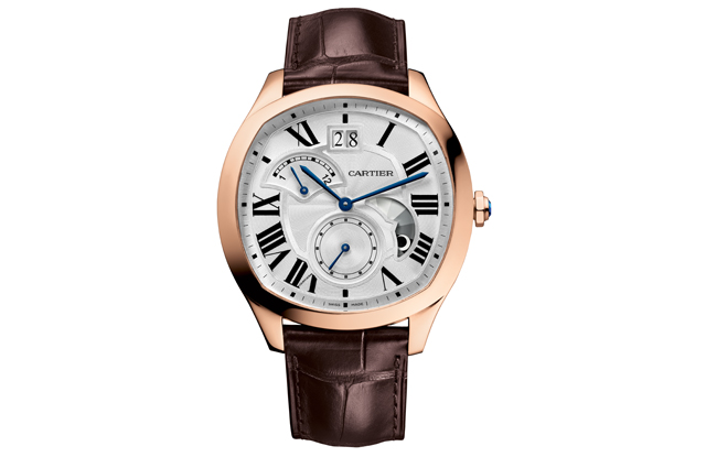 Drive de Cartier watch, 18-carat pink gold case with large date, retrograde second time zone and day/night indicator