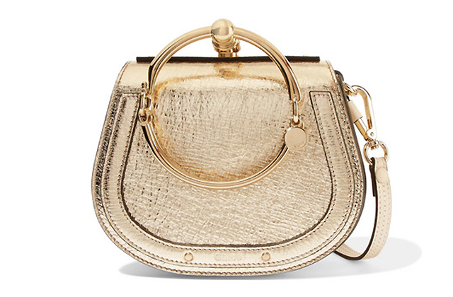 Chloé Nile Bracelet small metallic textured-leather and suede shoulder bag, Dhs6,535