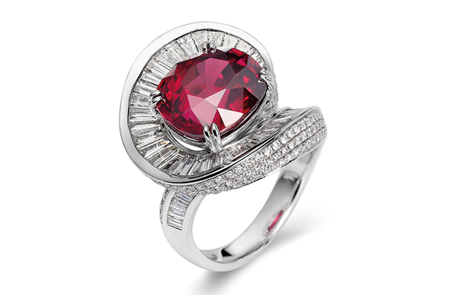 Fei Lui platinum swirling ring with ruby from Mozambique