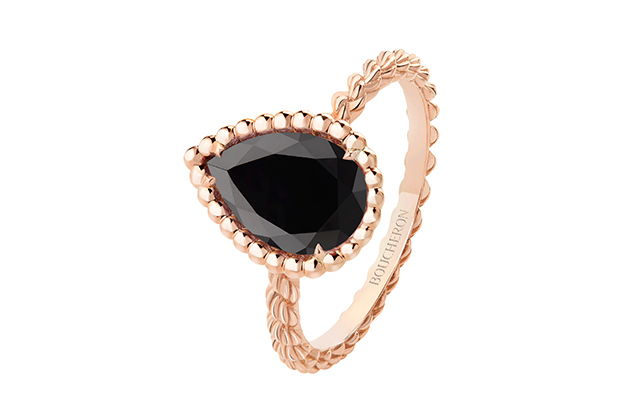 Boucheron Serpent Bohème ring set with onyx, in pink gold