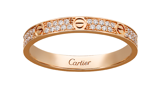 Love Ring in pink gold with diamonds