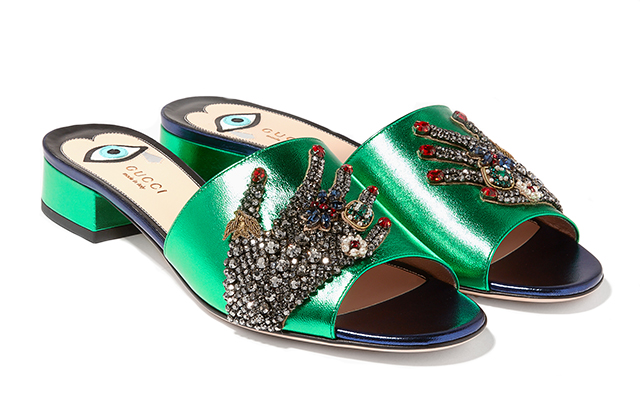 Gucci green embellished sandals available on Ounass.com, Dhs4,250